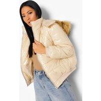 Womens Petite Faux Fur Hooded Oversized Puffer Jacket - Beige - M, Beige