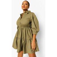 Womens Plus Tiered Smock Shirt Dress - Green - 22, Green