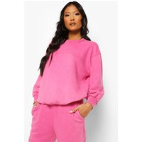Womens Petite Woman Print Acid Wash Jumper - Pink - 10, Pink