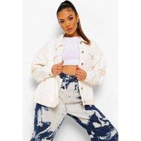 Womens Petite Oversized Denim Jacket - White - 16, White