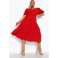Womens Plus Puff Sleeve Tiered Midi Dress - 22, Red