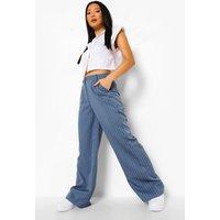 Womens Petite Wide Leg Pinstripe Trouser - Blue - 14, Blue