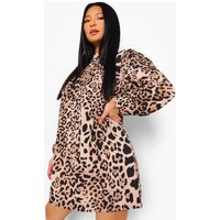 Womens Petite High Neck Leopard Print Smock Dress - Beige - 10, Beige