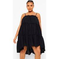 Womens Plus Cheesecloth Ruffle Smock Dress - Black - 16, Black