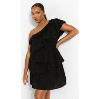 Womens Plus Ruffle Tiered One Shoulder Sundress - Black - 16, Black