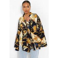 Womens Plus Extreme Sleeve Print Wrap Top - Beige - 16, Beige