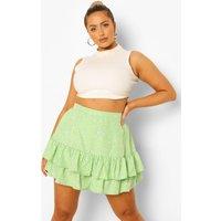 Womens Plus Ditsy Floral Flippy Short - Green - 24, Green