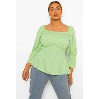 Womens Plus Ditsy Shirred Frill Hem Blouse - Green - 16, Green