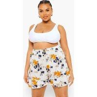 Womens Plus Spot Floral Flippy Shorts - White - 20, White