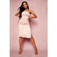 Womens Petite Bandeau Wrap Satin Bodycon Dress - Pink - 10, Pink