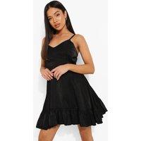 Womens Petite Tie Back Frill Mini Dress - Black - 12, Black