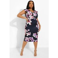Womens Plus Occasion Ruffle Floral Midi Dress - Navy - 16, Navy