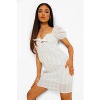 Womens Petite Puff Sleeve Broderie Mini Dress - White - 14, White