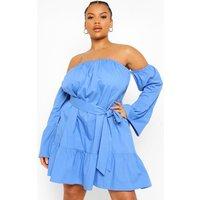 Womens Plus Woven Off Shoulder Ruffle Skater Dress - Blue - 22, Blue