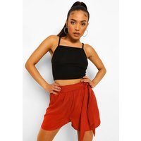 Womens Petite Tie Waist Cheesecloth Shorts - Orange - 8, Orange