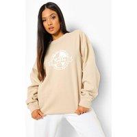 Womens Petite Earth Print Oversized Sweatshirt - Beige - L, Beige