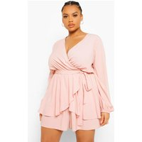 Womens Plus Wrap Front Frill Long Sleeve Playsuit - Pink - 22, Pink