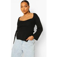 Womens Plus Knitted Square Neck Split Top - Black - 28, Black