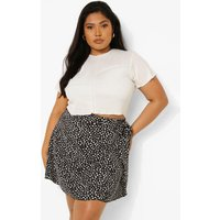 Womens Plus Dalmatian Woven Ruffle Wrap Mini Skirt - Black - 24, Black