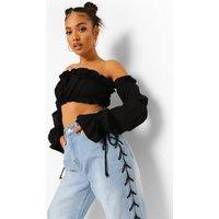 Womens Petite Bardot Ruffle Flare Cuff Crop Top - Black - 14, Black