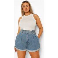Womens Plus Belted Paperbag Denim Shorts - Blue - 28, Blue