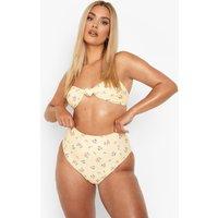 Womens Plus Floral High Waist Bikini Brief - Yellow - 18, Yellow