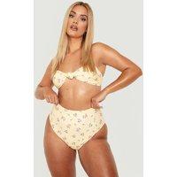 Womens Plus Floral Knot Front Bikini Top - Yellow - 16, Yellow