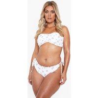 Womens Plus Floral Frill Edge Tie Side Bikini Brief - White - 26, White