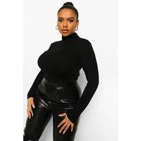 Womens Plus Roll Neck Crop Top - Black - 22, Black