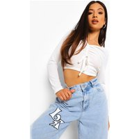 Womens Petite Ruched Front Lettuce Hem Rib Crop Top - White - 14, White