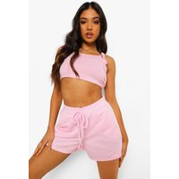 Womens Petite Tie Strap Crop Top And Short Set - Pink - 14, Pink