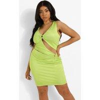 Womens Plus Ring Detail Cut Out Mini Dress - Green - 22, Green
