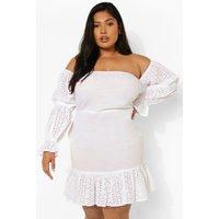 Womens Plus Broderie Puff Sleeve Mini Dress - White - 26, White