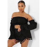 Womens Plus Tassel Flippy Shorts - Black - 16, Black