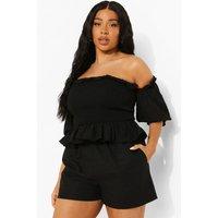 Womens Plus Shirred Bardot Top - Black - 28, Black