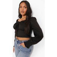 Womens Plus Woven Puff Sleeve Crop Top - Black - 24, Black