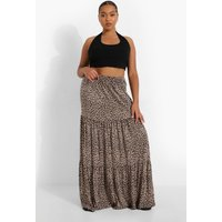 Plus Leopard Jersey Tierred Maxi Skirt