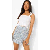 Womens Petite Tie Detail Split Woven Mini Skirt - Blue - 8, Blue