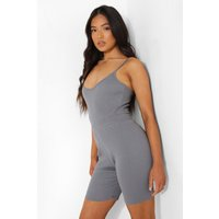 Womens Petite Premium Rib V Neck Bodysuit - Grey - 10, Grey