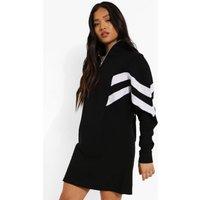 Womens Petite Colour Block Half Zip Sweatshirt Dress - Black - 8, Black