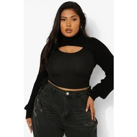 Womens Plus Knitted Cropped Jumper - Black - 28, Black