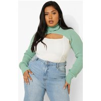 Womens Plus Knitted Cropped Jumper - Green - 20, Green