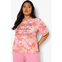 Womens Plus Tie Dye Countryside Graphic T-Shirt - Orange - 22, Orange