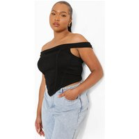 Womens Plus Bardot Dip Hem Corset - Black - 24, Black