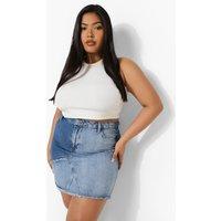 Womens Plus Patchwork Denim Mini Skirt - Blue - 24, Blue