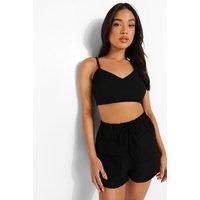 Womens Petite Linen Look Pocket Front Shorts - Black - 6, Black
