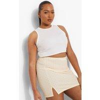Womens Plus Gingham Split Mini Skirt - Yellow - 16, Yellow