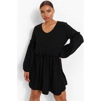 Womens Plus Linen Ruffle Balloon Sleeve Smock Dress - Black - 28, Black
