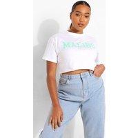 Womens Plus Malibu Print Cropped T-Shirt - White - 16, White