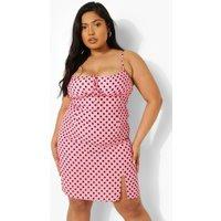 Womens Plus Polka Dot Tie Front Mini Dress - Pink - 28, Pink